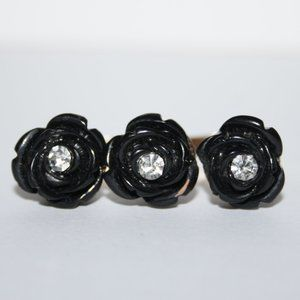 Black and gold double flower ring